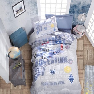 Постельное белье детское Cotton Box JUNIOR ON THE AIR хлопковый ранфорс синий 1,5 спальный
