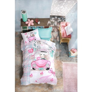 Постельное белье детское Cotton Box JUNIOR PARIS LOVE хлопковый ранфорс розовый 1,5 спальный