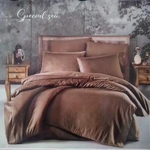 Постельное белье Ecosse JACQUARD SATIN GIZGILI VIP хлопковый сатин-жаккард светло-кофейный евро