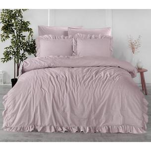 Постельное белье Karna STONEWASH с оборкой хлопковый сатин грязно-розовый евро