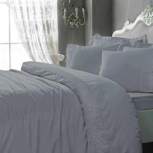 Постельное белье Tivolyo Home ELEGANT хлопковый сатин серый семейный