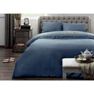 Постельное белье Tivolyo Home IMPERIAL хлопковый сатин голубой 1,5 спальный