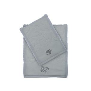 Подарочный набор полотенец для ванной 3 пр. Tivolyo Home BAROC хлопковая махра серый