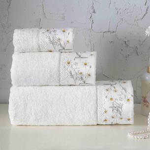 Подарочный набор полотенец для ванной 3 предмета + спрей Tivolyo Home DAISY хлопковая махра кремовый