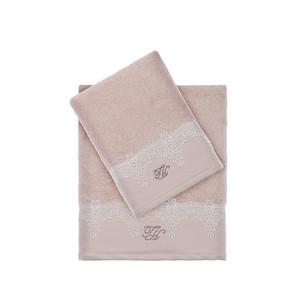 Подарочный набор полотенец для ванной 3 пр. + тапочки Tivolyo Home JULIET хлопковая махра бежевый