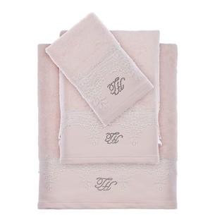 Подарочный набор полотенец для ванной 3 пр. + тапочки Tivolyo Home JULIET хлопковая махра розовый