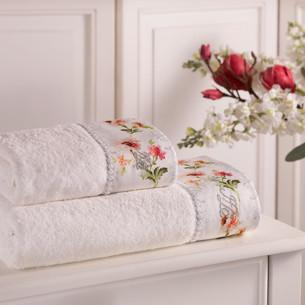 Подарочный набор полотенец для ванной 3 пр. + спрей Tivolyo Home NERO хлопковая махра кремовый