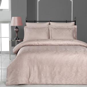 Постельное белье Karna VIERA бамбуковый сатин-жаккард грязно-розовый