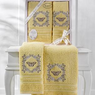Подарочный набор полотенец для ванной 50х90, 70х140 Karna MARIA  хлопковая махра желтый