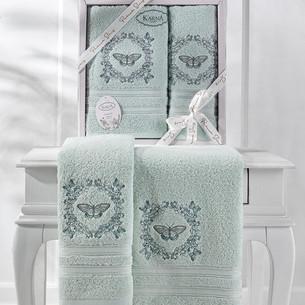 Подарочный набор полотенец для ванной 50х90, 70х140 Karna MARIA  хлопковая махра ментол