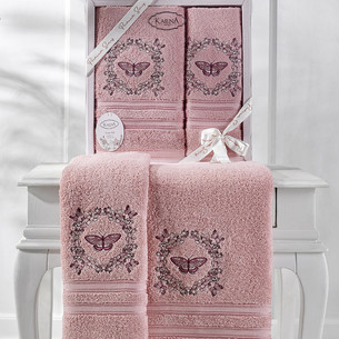 Подарочный набор полотенец для ванной 50х90, 70х140 Karna MARIA  хлопковая махра грязно-розовый