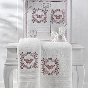 Подарочный набор полотенец для ванной 50х90, 70х140 Karna MARIA  хлопковая махра кремовый