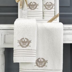 Подарочный набор полотенец для ванной 50х90, 70х140 Karna KAVELL хлопковая махра кремовый