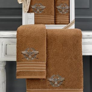Подарочный набор полотенец для ванной 50х90, 70х140 Karna KAVELL хлопковая махра горчичный