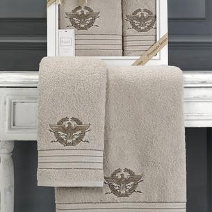 Подарочный набор полотенец для ванной 50х90, 70х140 Karna KAVELL хлопковая махра бежевый
