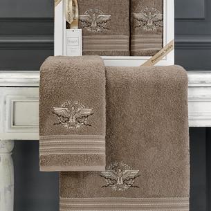 Подарочный набор полотенец для ванной 50х90, 70х140 Karna KAVELL хлопковая махра коричневый