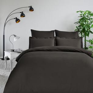 Постельное белье Karna CLASSIC хлопковый сатин коричневый евро