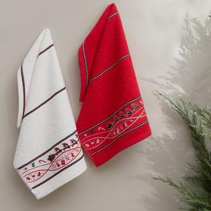 Набор кухонных полотенец 30х50(2) Karna CHRISTMAS хлопковая махра V1