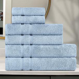 Подарочный набор полотенец для ванной 30x50 (2), 50х90(2), 70х140(2) Karna GAMA хлопковая махра синий