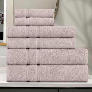 Подарочный набор полотенец для ванной 30x50 (2), 50х90(2), 70х140(2) Karna GAMA хлопковая махра пудра
