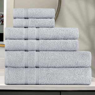 Подарочный набор полотенец для ванной 30x50 (2), 50х90(2), 70х140(2) Karna GAMA хлопковая махра серый
