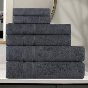 Подарочный набор полотенец для ванной 30x50 (2), 50х90(2), 70х140(2) Karna GAMA хлопковая махра антрацит