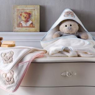 Детское полотенце-уголок Tivolyo Home LOVELY хлопковая махра голубой 90х90