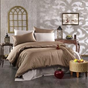 Постельное белье Grazie Home ALIX хлопковый сатин делюкс коричневый+тёмно-коричневый евро