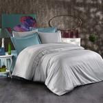 Постельное белье Grazie Home ALIX хлопковый сатин делюкс серый+голубой евро, фото, фотография