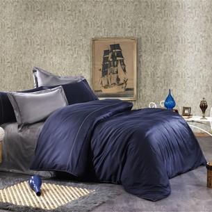 Постельное белье Grazie Home ALIX хлопковый сатин делюкс тёмно-синий+антрацит евро