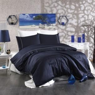 Постельное белье Grazie Home ALIX хлопковый сатин делюкс тёмно-синий+кремовый евро