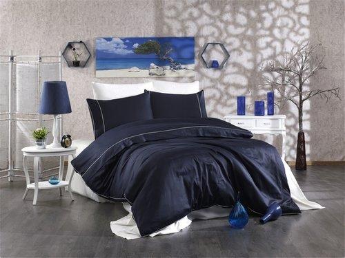 Постельное белье Grazie Home ALIX хлопковый сатин делюкс тёмно-синий+кремовый евро, фото, фотография