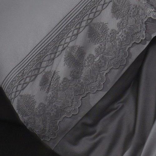 Постельное белье Grazie Home CIWAN хлопковый сатин делюкс антрацит евро, фото, фотография