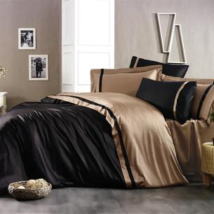 Постельное белье Grazie Home ELITE хлопковый сатин делюкс черный+коричневый евро