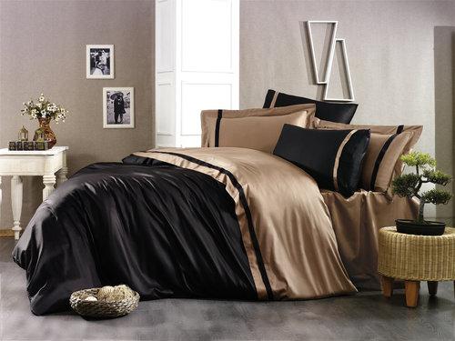 Постельное белье Grazie Home ELITE хлопковый сатин делюкс черный+коричневый евро, фото, фотография