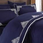 Постельное белье Grazie Home SANTA хлопковый сатин делюкс синий евро, фото, фотография