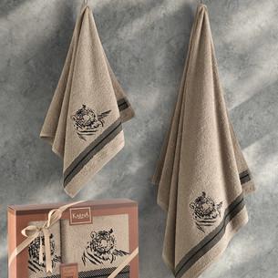 Подарочный набор полотенец для ванной 50х90, 70х140 Karna TIGER хлопковая махра кофейный
