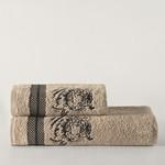 Подарочный набор полотенец для ванной 50х90, 70х140 Karna TIGER хлопковая махра кофейный, фото, фотография