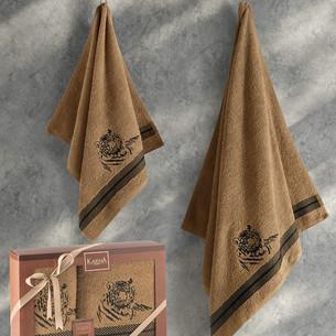 Подарочный набор полотенец для ванной 50х90, 70х140 Karna TIGER хлопковая махра горчичный