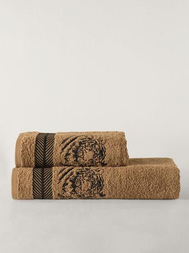 Подарочный набор полотенец для ванной 50х90, 70х140 Karna TIGER хлопковая махра горчичный, фото, фотография