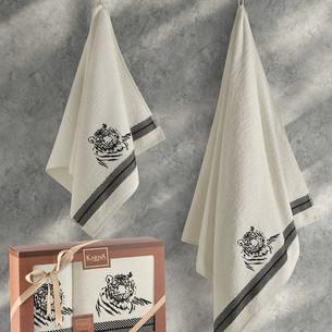 Подарочный набор полотенец для ванной 50х90, 70х140 Karna TIGER хлопковая махра кремовый