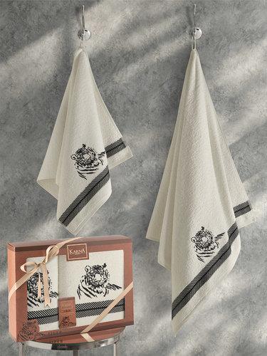 Подарочный набор полотенец для ванной 50х90, 70х140 Karna TIGER хлопковая махра кремовый, фото, фотография