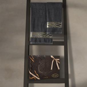 Подарочный набор полотенец для ванной 50х90, 70х140 Karna IVORY хлопковая махра антрацит