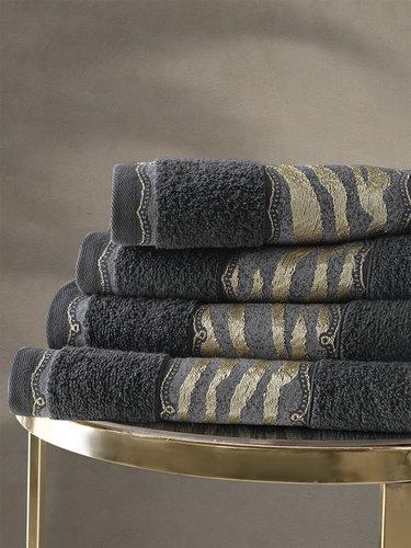 Подарочный набор полотенец для ванной 50х90, 70х140 Karna IVORY хлопковая махра антрацит, фото, фотография