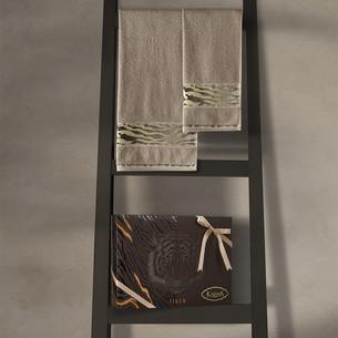 Подарочный набор полотенец для ванной 50х90, 70х140 Karna IVORY хлопковая махра кофейный