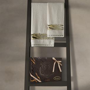 Подарочный набор полотенец для ванной 50х90, 70х140 Karna IVORY хлопковая махра кремовый