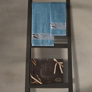Подарочный набор полотенец для ванной 50х90, 70х140 Karna IVORY хлопковая махра нефть