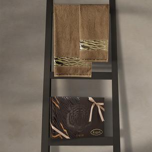 Подарочный набор полотенец для ванной 50х90, 70х140 Karna IVORY хлопковая махра горчичный