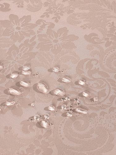 Скатерть овальная Karna DORE водонепроницаемый жаккард пудра 160х220, фото, фотография