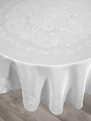 Скатерть круглая Karna DORE водонепроницаемый жаккард белый D=160, фото, фотография